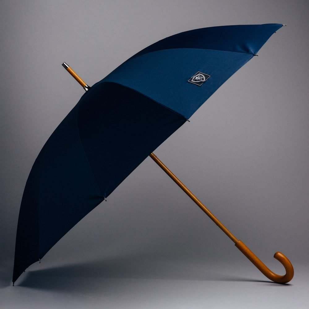 stylish blue umbrella classic wooden handle