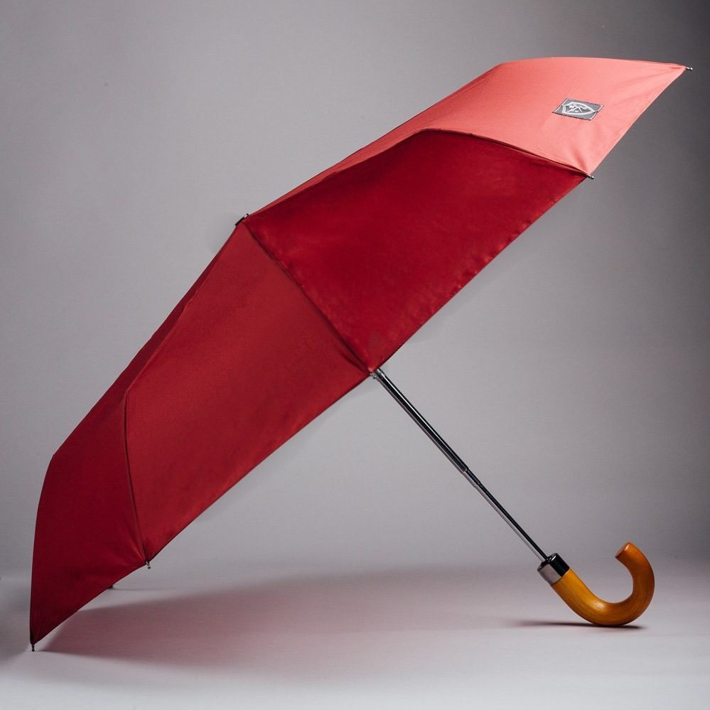 dark red totes umbrella wooden