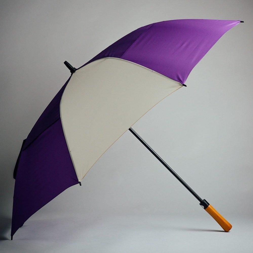 purple and white golf umbrella for golfers